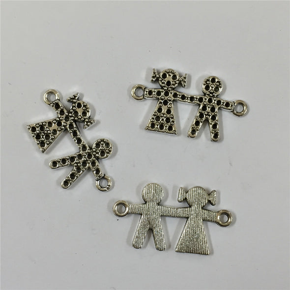 10 units Pendant antique SLIVER boy and gril Pendants Jewelry Findings & Components D-3-153