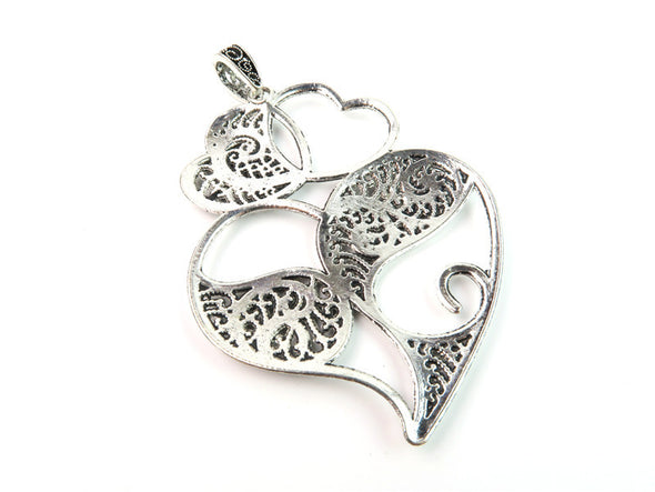 5 Pcs Antique Silver Viana Heart pendant  jewelry supplies jewelry finding D-3-42