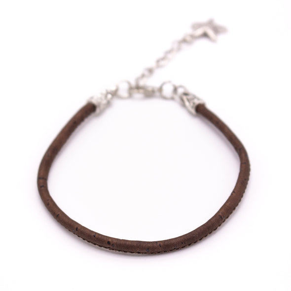 3MM round brown cork cord Handmade bracelet BR-02-B-10