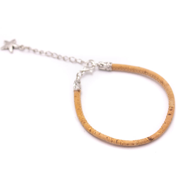 3MM round natural cork cord Handmade bracelet BR-02-A-10
