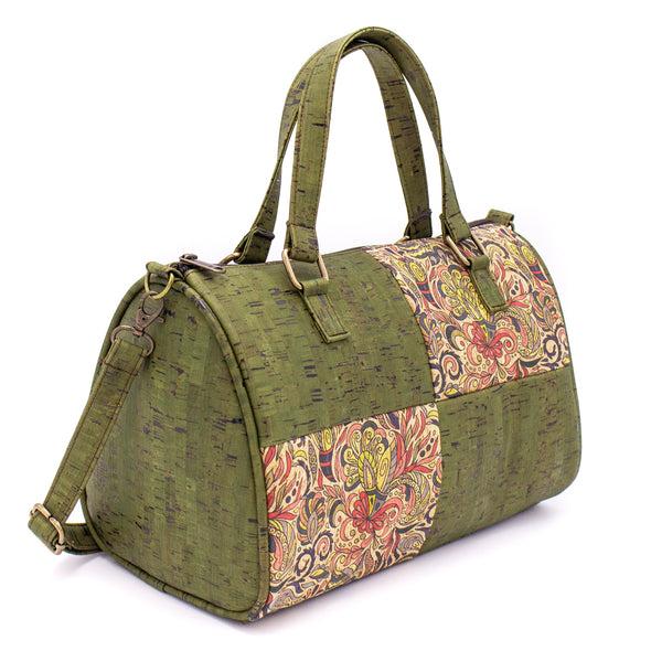 Duffle bag green and blue cork with pattern women overnight bag weekender bag  BAGP-002-AB