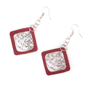 Red cork fabric Shapes for Earrings, Original handmade ladies earrings-ER-115-5