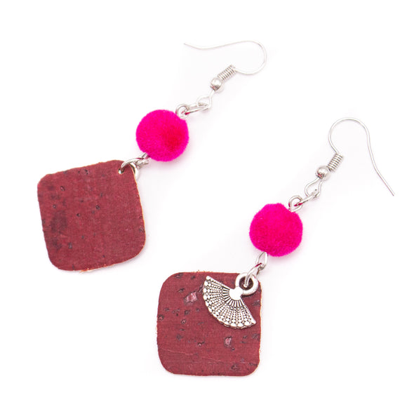 red cork fabric Shapes for Earrings, Original handmade ladies earrings-ER-113-5