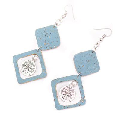 Blue cork fabric Shapes for Earrings, Original handmade ladies earrings-ER-116-5
