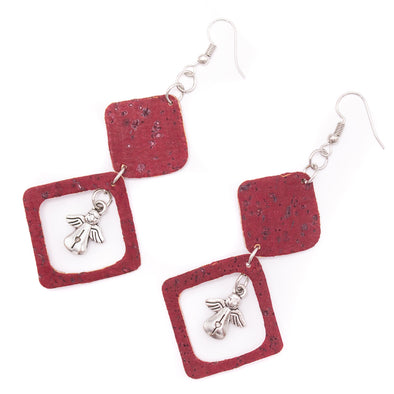 Red  cork fabric Shapes for Earrings, Original handmade ladies earrings-ER-117-5