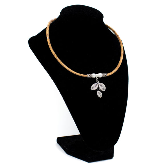 Natural cork Original Pearl beads Hollowed Leaf handmade women cork necklace N-203-10