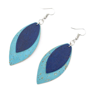 Blue cork fabric  Shapes for Earrings, Original handmade ladies earrings-ER-107-B-1