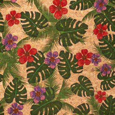 Large green banana leaves and red flowers pattern cork leather fabric COF-394
