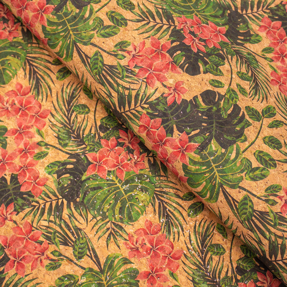 Flowers and leaves pattern Cork fabric COF-375