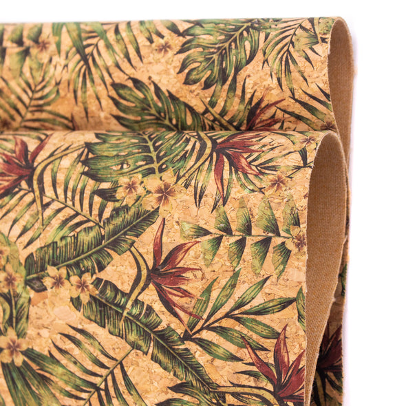 Palm leaves. Seamless floral pattern summer Cork fabric COF-377