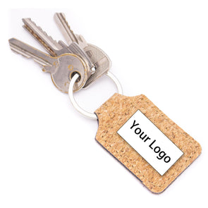 Personalized key ring in natural cork rectangle I-072