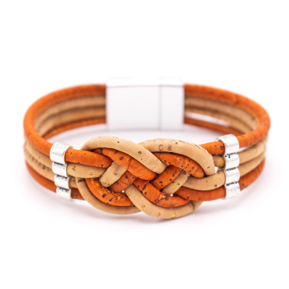 Cork Braided colorfull cork with magnet clasp bracelet BR-225-B-5