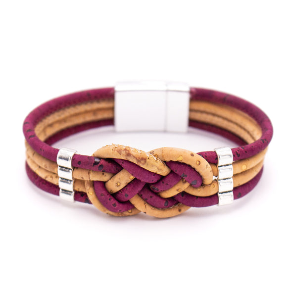 Cork Braided colorfull cork with magnet clasp bracelet BR-225-A-5
