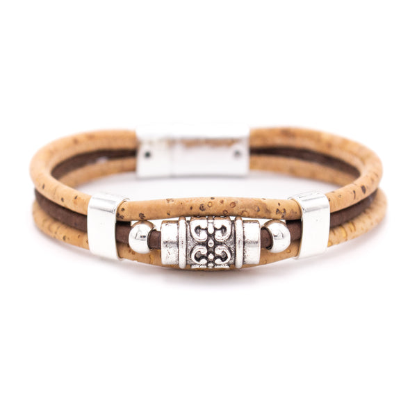 Natural with browm 3mm round Cork with zamak tube beads handmade jewelry bracelet for men,BR-465-MIX-6