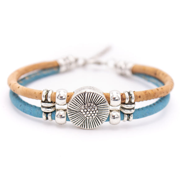 Colorful 3mm round Cork with zamak flower beads handmade jewelry bracelet for women BR-433-C-5