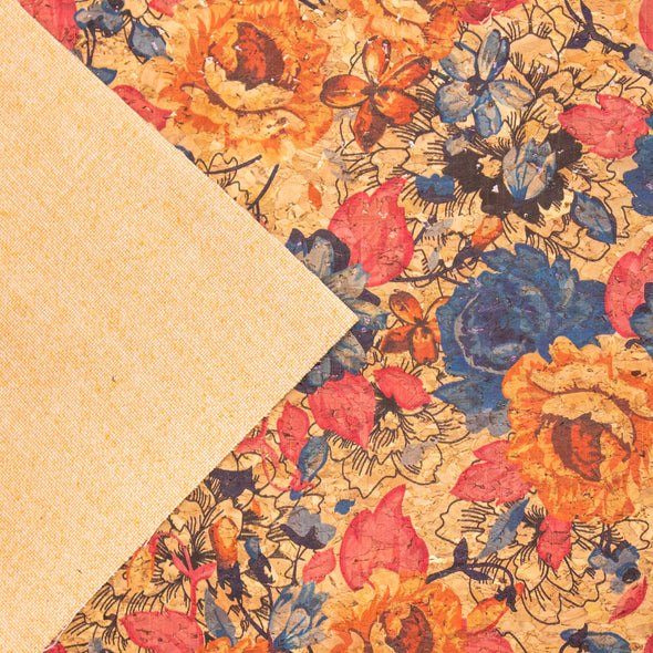 Rose flower pattern Cork fabric COF-378