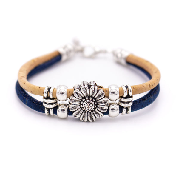 Colorful 3mm round Cork with zamak flower beads handmade jewelry bracelet for women BR-433-B-5