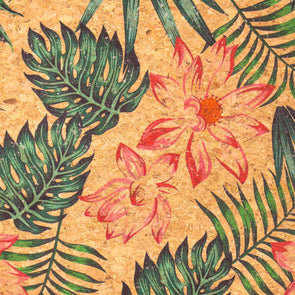 Leaves flower pattern cork leather fabric COF-396