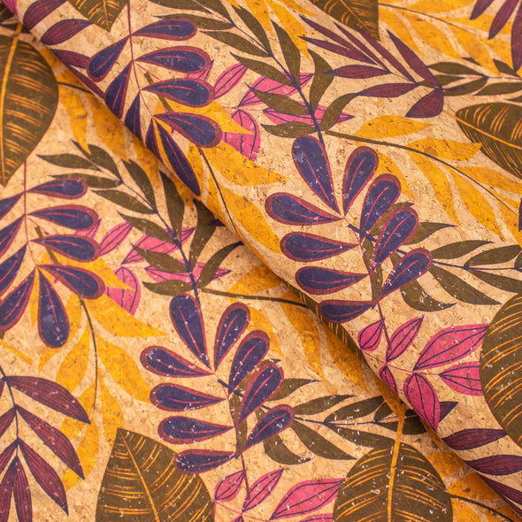 Large leaves and palm leaves pattern Cork fabric COF-391