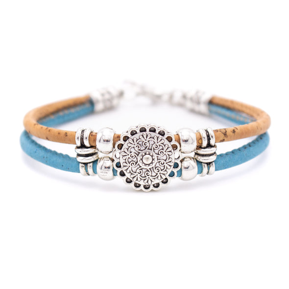 Natural 3mm round Cork with zamak flower beads handmade jewelry bracelet for women BR-433-A-5