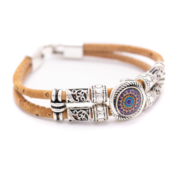 colorful  Natural 3mm round Cork with zamak beads handmade jewelry bracelet for women BR-468-MIX-5