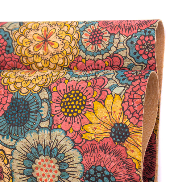 Large red yellow and blue chrysanthemums flower pattern cork leather fabric COF-395