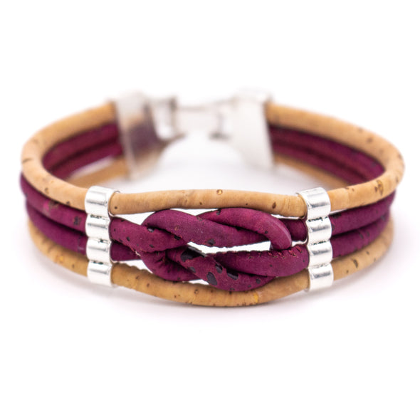 colorful  Natural 3mm round Cork with zamak beads handmade jewelry bracelet for women BR-463-MIX-5