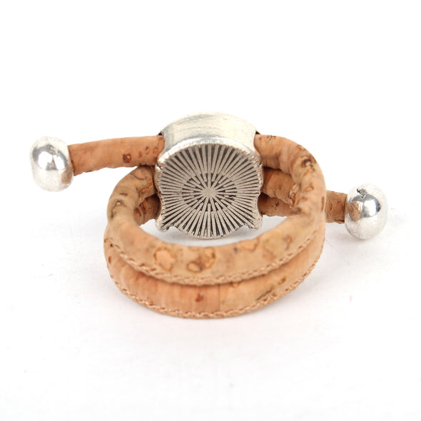 Natural cork Antique silver Buddha women Ring original adjustable handmade vegan jewelry HR-021