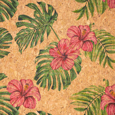 Large flower and palm leaves pattern Cork fabric COF-393