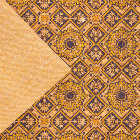 Tile Azuleijo style pattern natural cork fabric COF-406