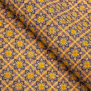 Yellow chrysanthemum pattern natural cork fabric  COF-404