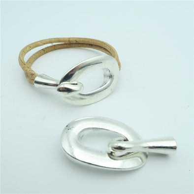 5pcs hook clasp for two stands 3mm round leather, antique silver, jewelry finding supply D-6-70