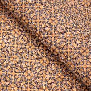 Traditional round Tile Azuleijo style pattern natural cork fabric COF-407