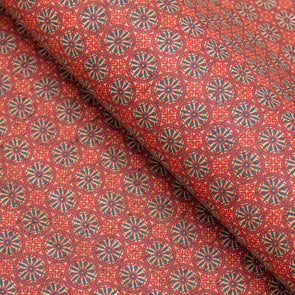 Red round geometric shape patterned natural cork fabric COF-400