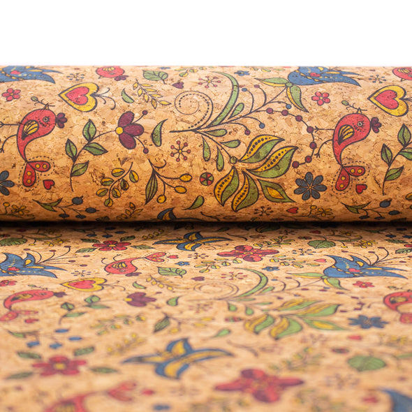 Lovely flowers and birds and vines pattern cork leather fabric COF-398