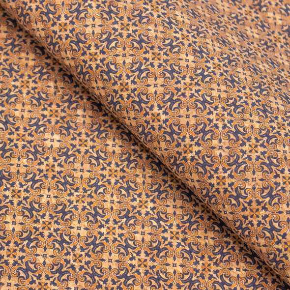 Yellow and blue geometric flower pattern natural cork fabric COF-412