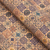 Blue square Tile Azuleijo style pattern natural cork fabric COF-409