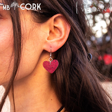 Red softwood fabric Heart style handmade lady cork earrings  retro women jewelry ER-072-B