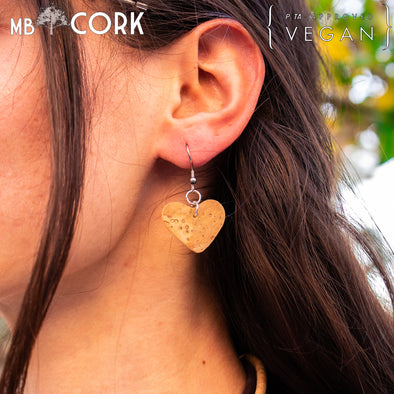 Natural softwood fabric Heart style original handmade ladies earrings, stylish retro beautiful jewelry for women cork earring ER-072-A