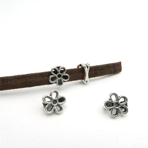 20pcs For 5mm flat leather slider antique silver flower, jewelry finding supplies D-1-5-14