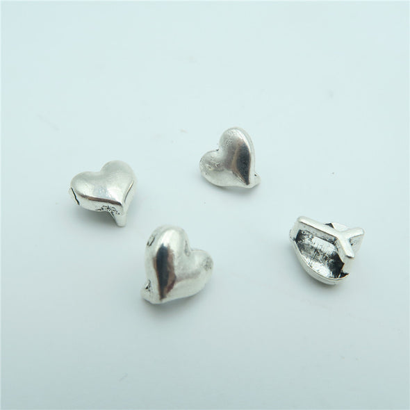 20pcs For 5mm flat leather slider antique silver heart slider charms jewelry finding supplies D-1-5-15