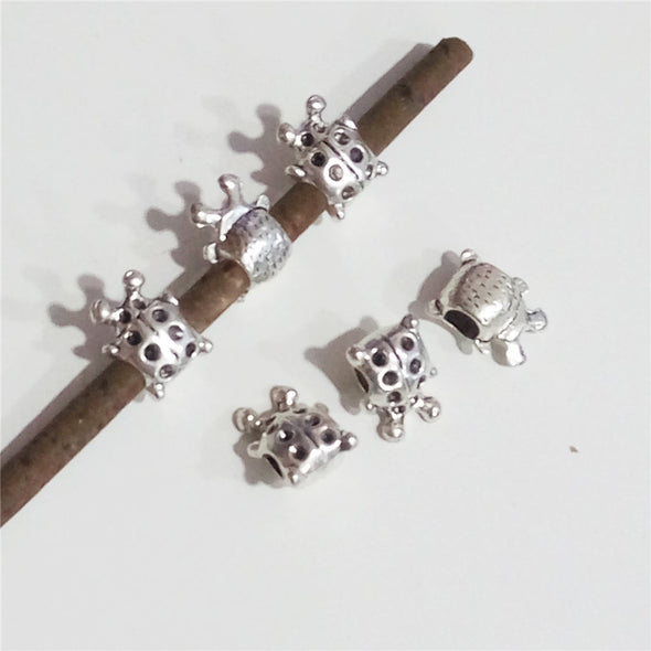 10 Pcs for 5mm round leather, Antique silver ladybug, jewelry supplies jewelry finding D-5-5-53