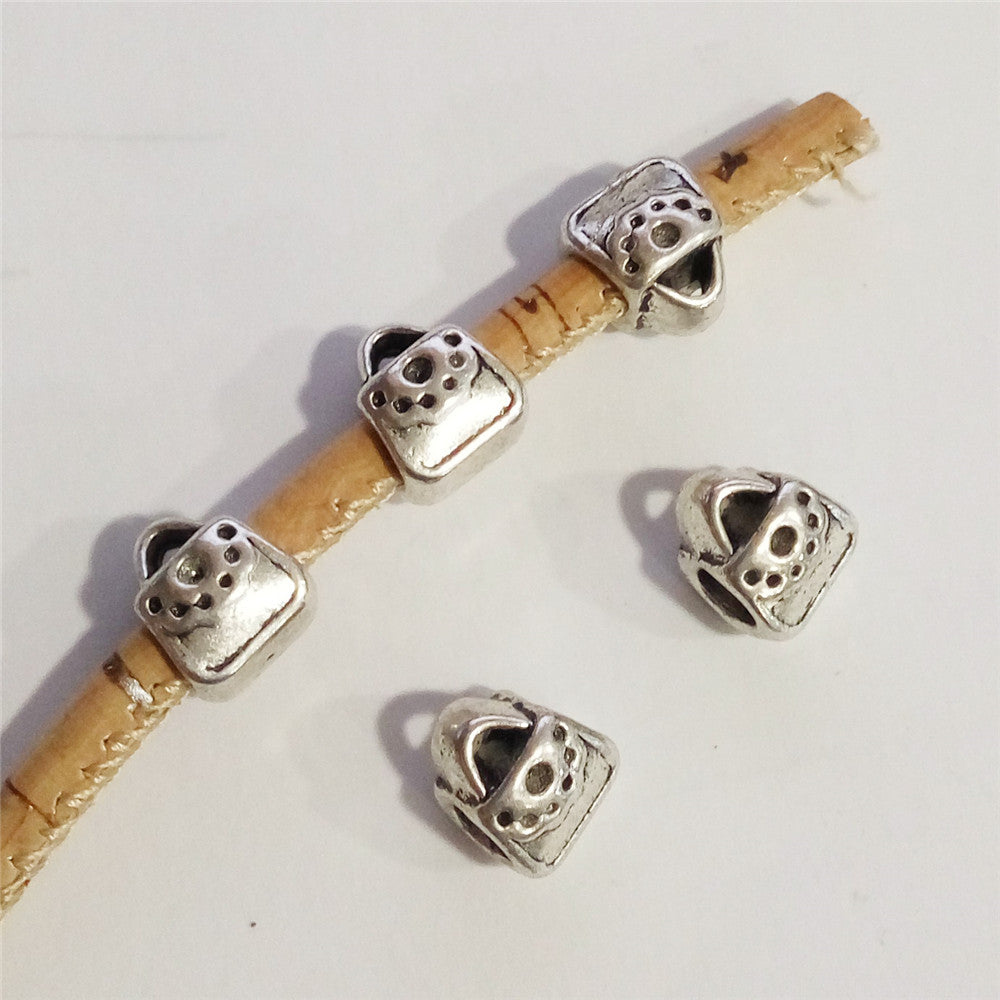 10 Pcs for 5mm round leather, Antique silver bead, jewelry supplies jewelry finding D-5-5-54