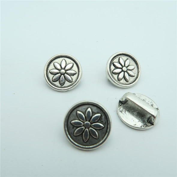 10pcs For 10mm flat leather Antique silver flower slider, jewelry finding supplies D-1-10-111