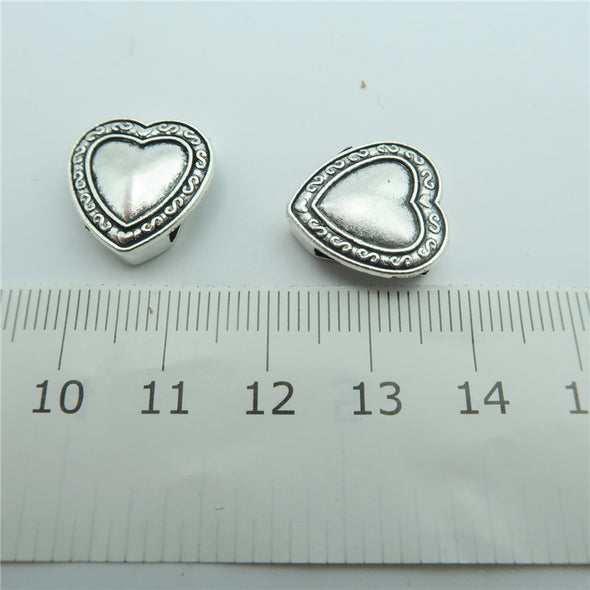 10 Pcs for 10mm flat leather,Antique Silver Hearts  jewelry supplies jewelry finding D-1-10-114