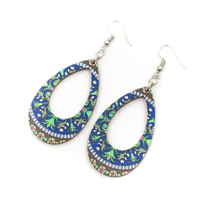 wood earrings  blue color printed earrings Original handmade ladies earrings-ER-095