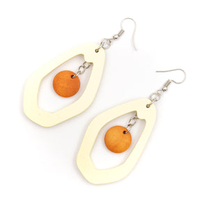 Natural wood, Polygonal Drop Earrings Original handmade ladies earrings-ER-087