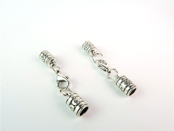 10Pcs for 5mm round leather ends, lobster clasp , antique silver, jewelry supplies jewelry finding D-6-40