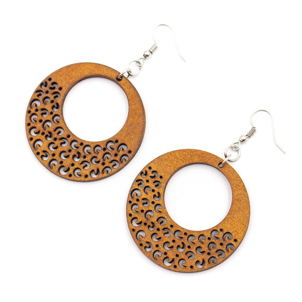 Natural cork,wood, Round color printed earrings Original handmade ladies earrings-ER-099