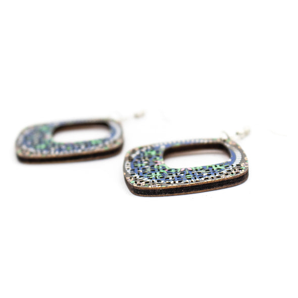 wood earrings Diamond blue color printed earrings Original handmade ladies earrings-ER-096